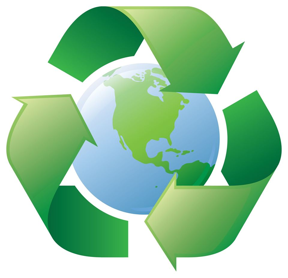 earth with recycling logo