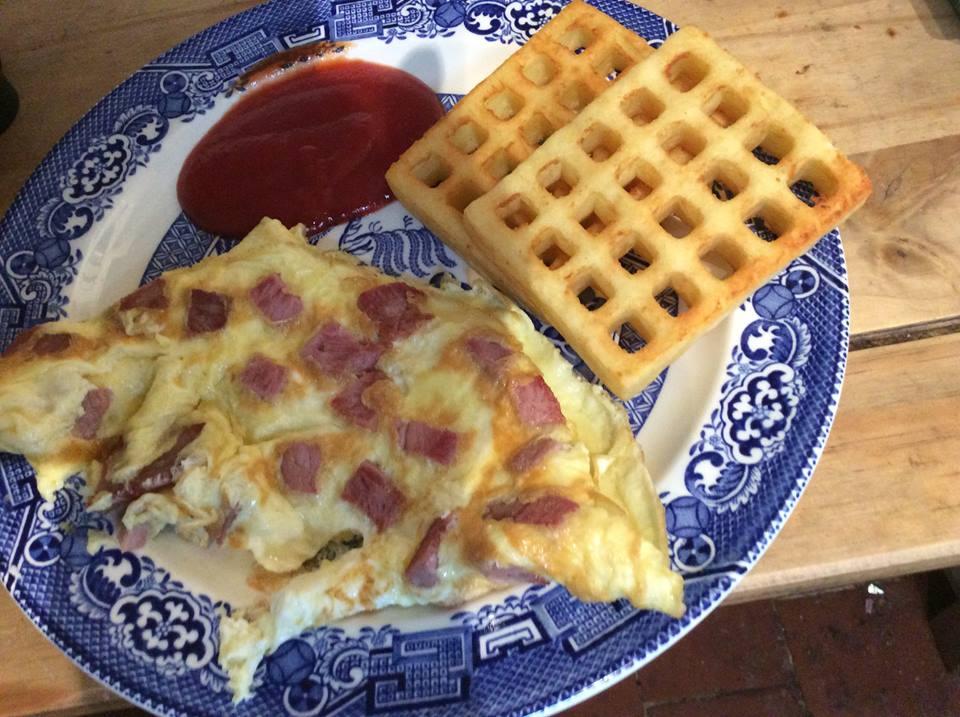 omelette and potato waffle